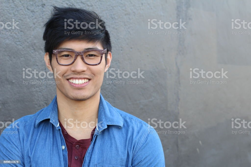 Asian Man Portrait Smiling Isolated with copyspace stock photo
