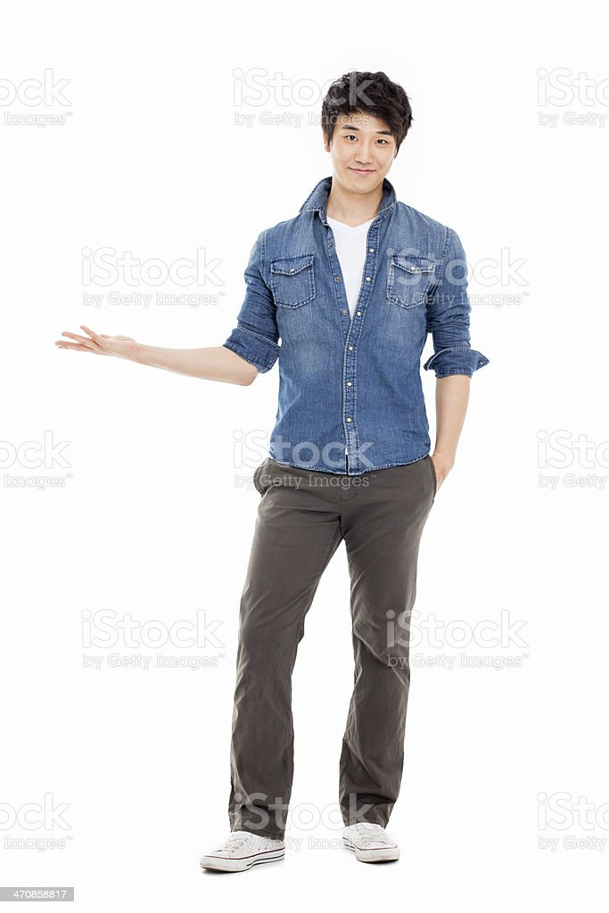 Asian man present something stock photo