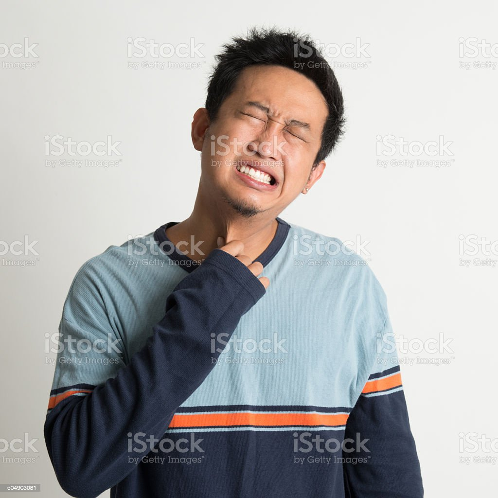 Asian man sore throat stock photo