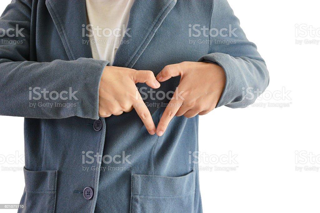 Asian man wear blue suit whit white background, hearts hands photo libre de droits