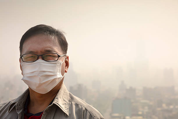 Against Mask Wearing Asian Air Man Best Stock Mouth Pollution