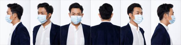 asian man white background isolated put surgical mask protect covid-19 - ritratto 360 gradi foto e immagini stock