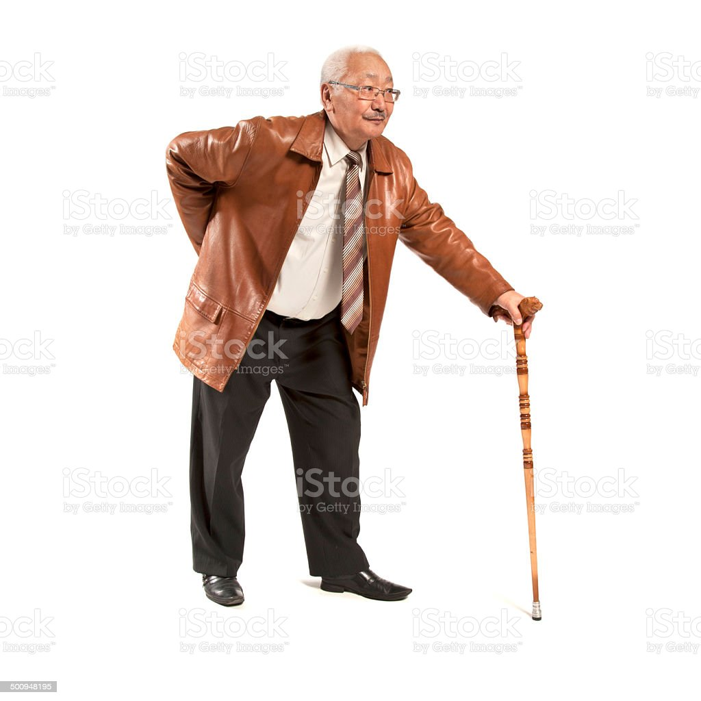 Asian man with cane stock photo