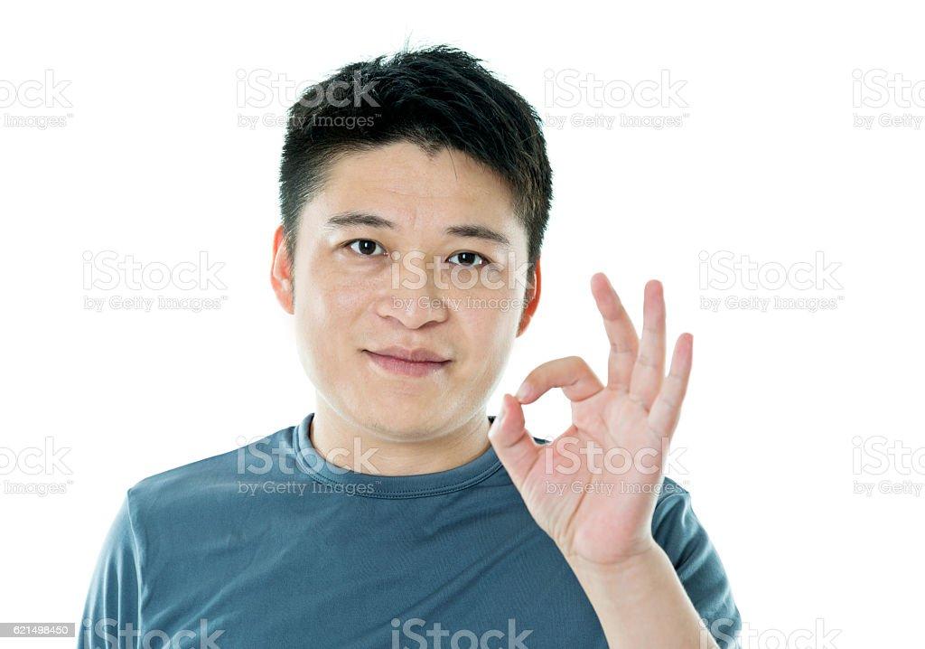 Asiatischen Mann mit Daumen hoch Lizenzfreies stock-foto