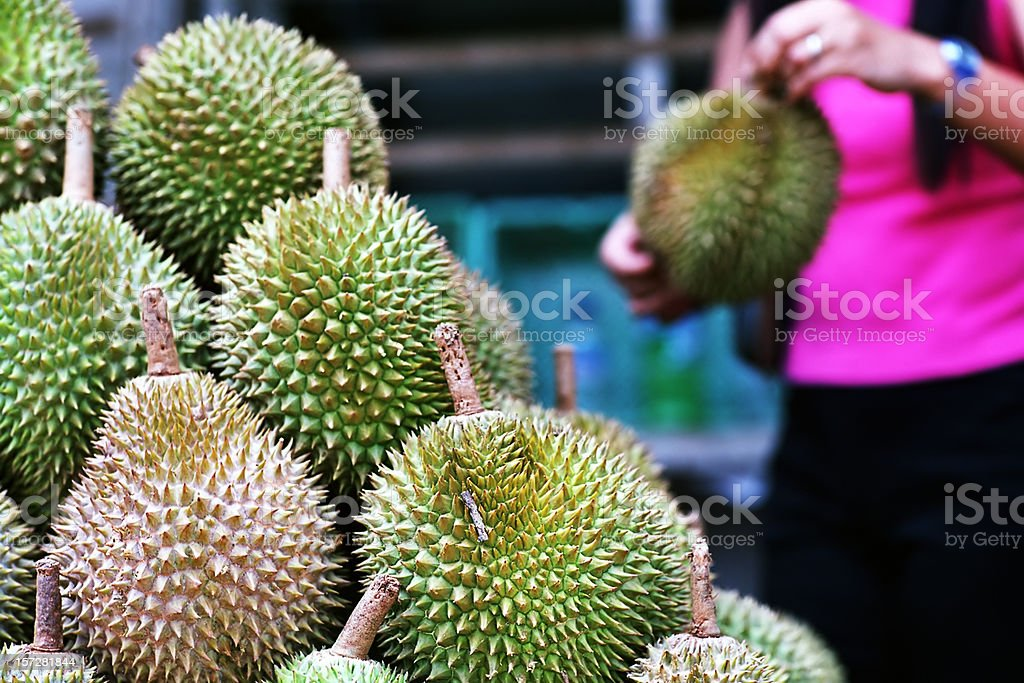 Asian market 1: durians in Singapore stock photo