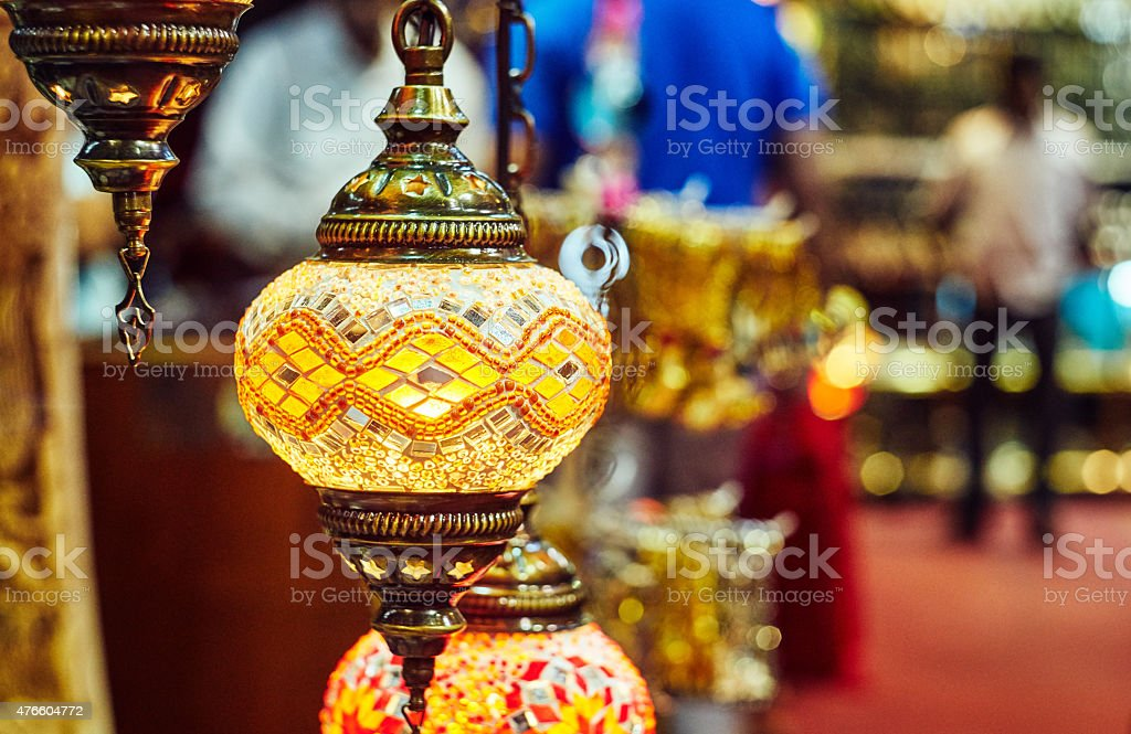 Asian market interior stock photo