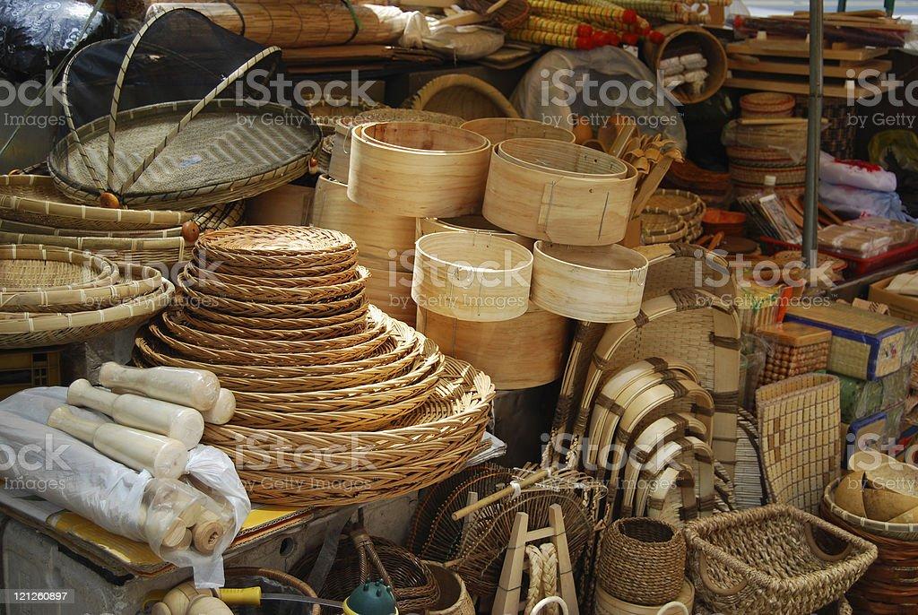 Asian market of bamboo crafts stock photo