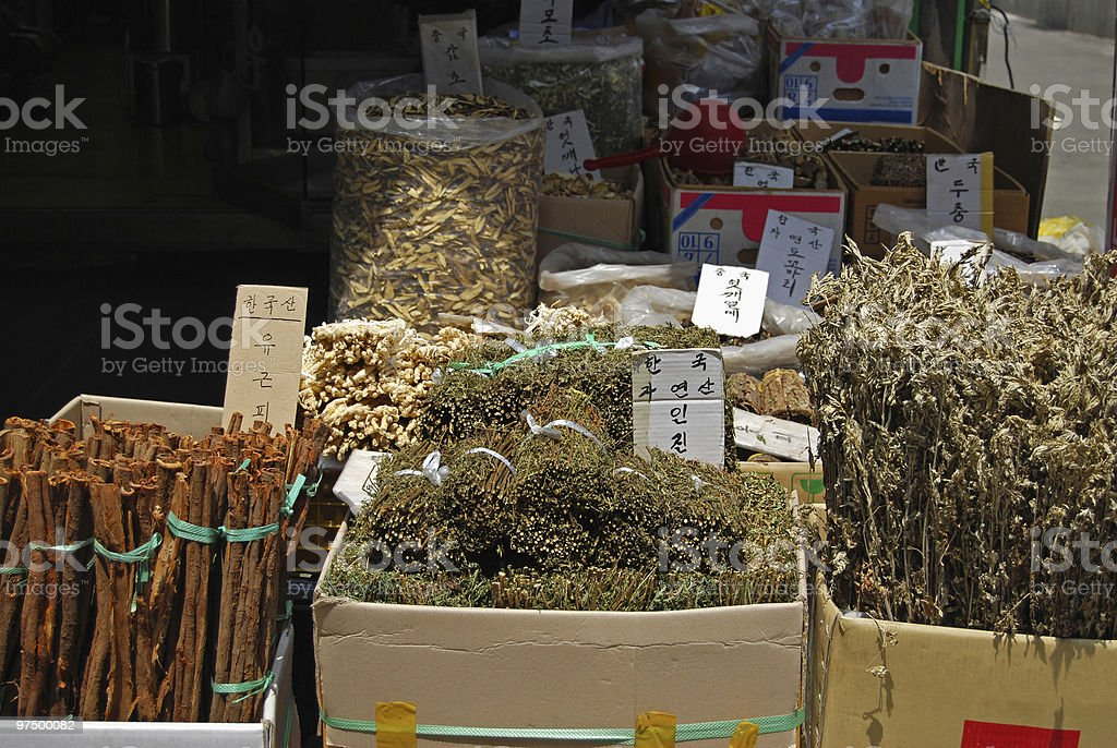 Asian market of dried plants and herb royalty-free stock photo