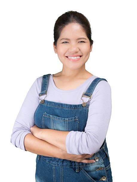 asian mechanic woman - jeans overall stock-fotos und bilder