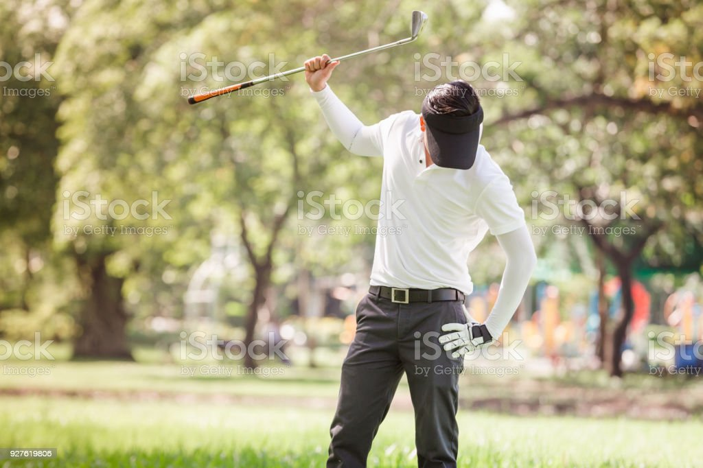 Asian men angry golfer stock photo