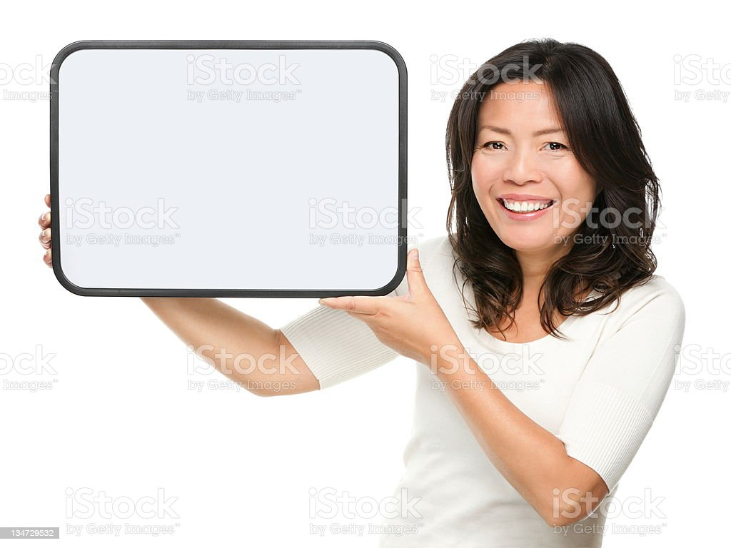 Asian middle aged woman showing sign royalty-free stock photo