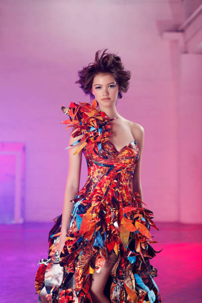 Asian Mix Fashion Model in Beautiful Paper Couture Gown stock photo