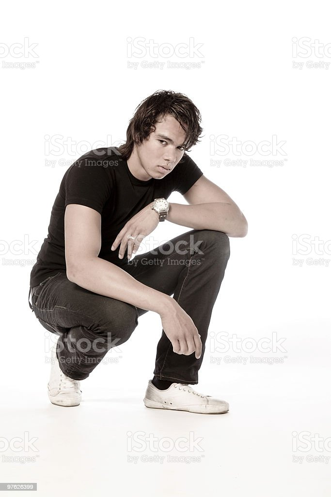 Asian model crouching stock photo