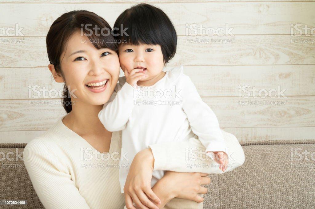 アジアの母と赤ちゃん ストックフォト