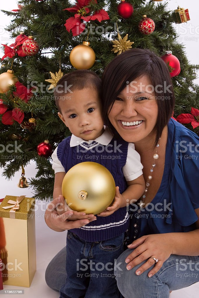 Asian mother and her son royalty-free stock photo