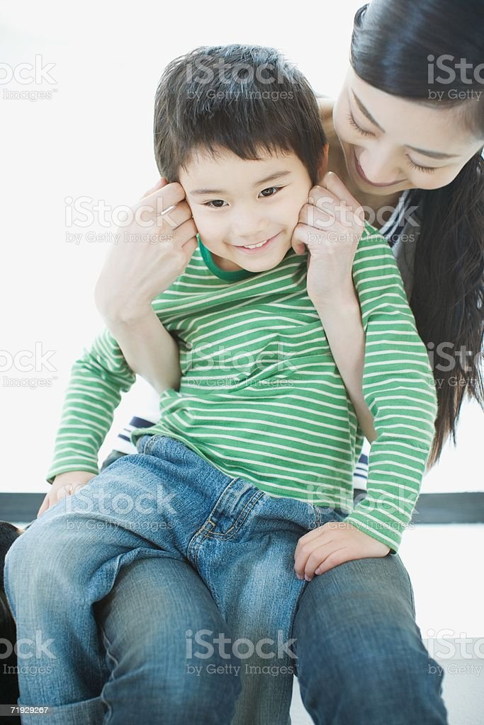 Asian mother with son royalty-free stock photo