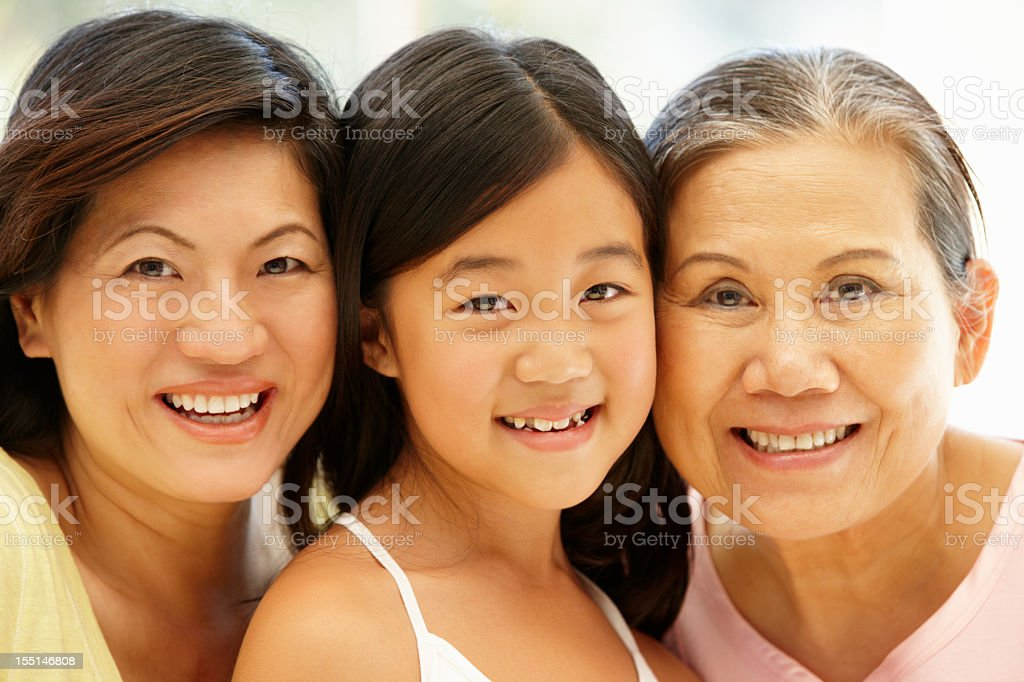 Asian mother,daughter and grandmother royalty-free stock photo