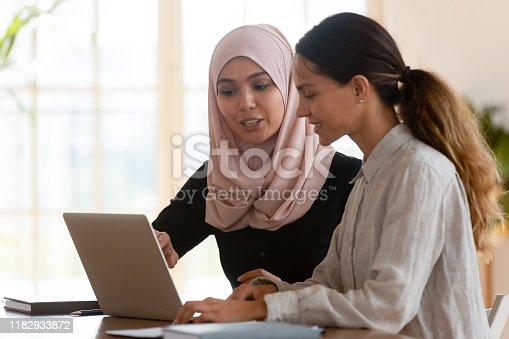 926404274 istock photo Asian muslim female mentor teaching caucasian intern explaining computer work 1182933872