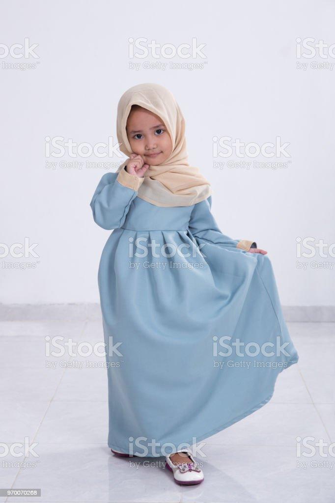 asian muslim little girl stock photo