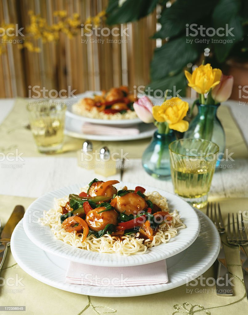 Asian Noodle Chicken ball stir fry royalty-free stock photo