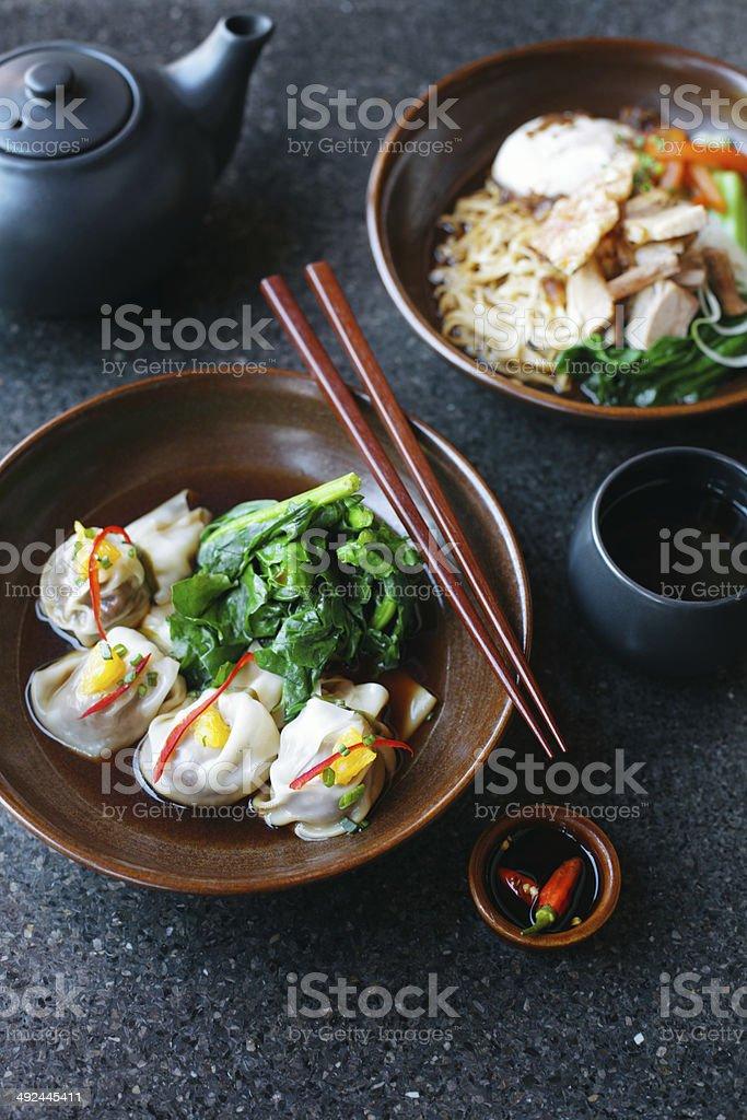 Asian noodles and dumplings stock photo
