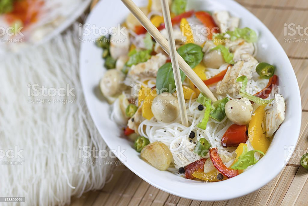 Asian noodles with meat and mixed vegetables royalty-free stock photo