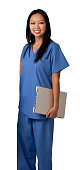 Asian Nurse Isolated on White