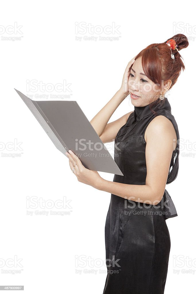Asian office girl is headache while working royalty-free stock photo
