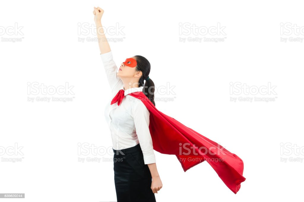 asian office woman acting like a superhero on top stock photo