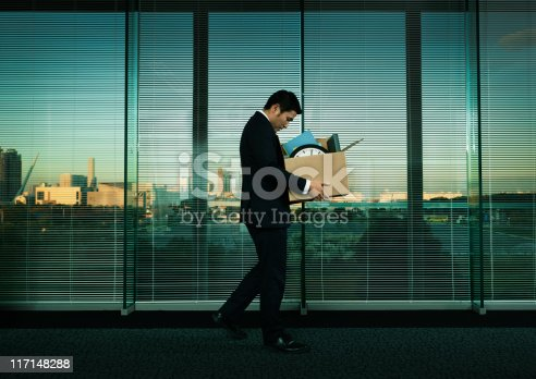 istock Asian Office Worker Leaving His Job in Layoff for Recession 117148288