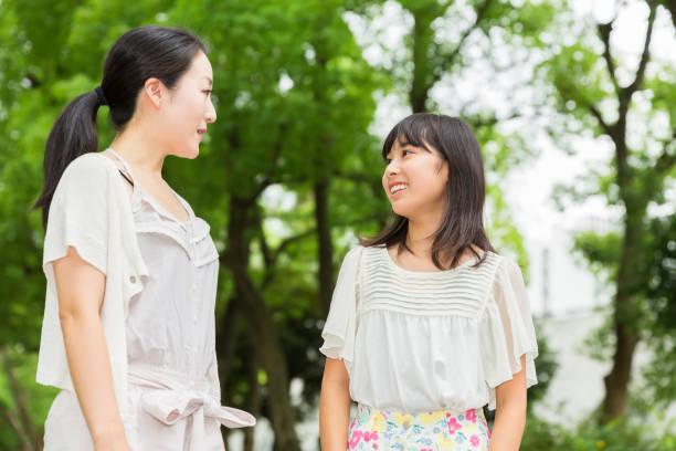 アジアの親と娘 - 母娘 笑顔 日本人 ストックフォトと画像