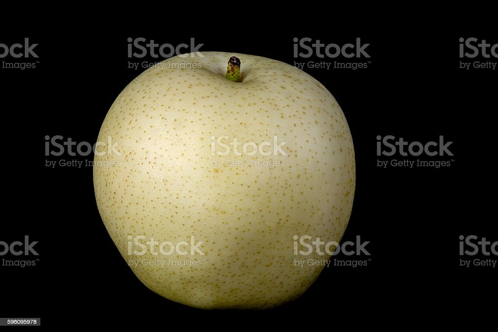 Asian Pear or Golden Pear on Black Background royalty-free stock photo