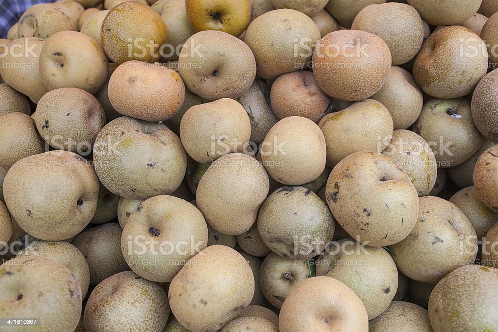 Asian Pears in a market. royalty-free stock photo