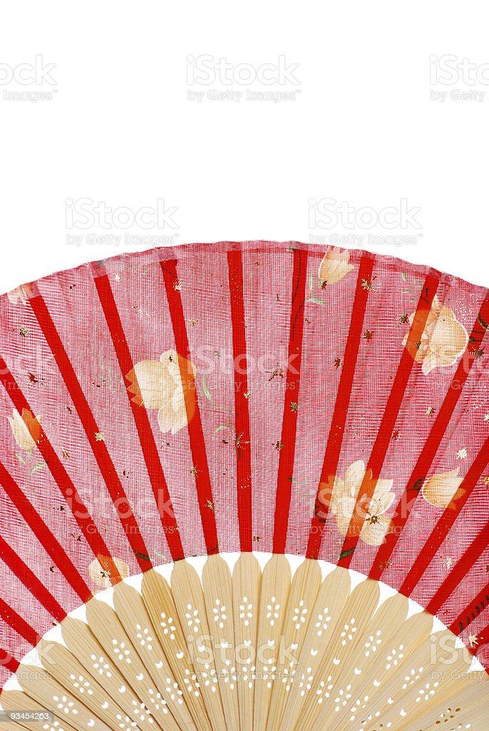 Asiatische Rote fan mit Gelbe Blumen Lizenzfreies stock-foto