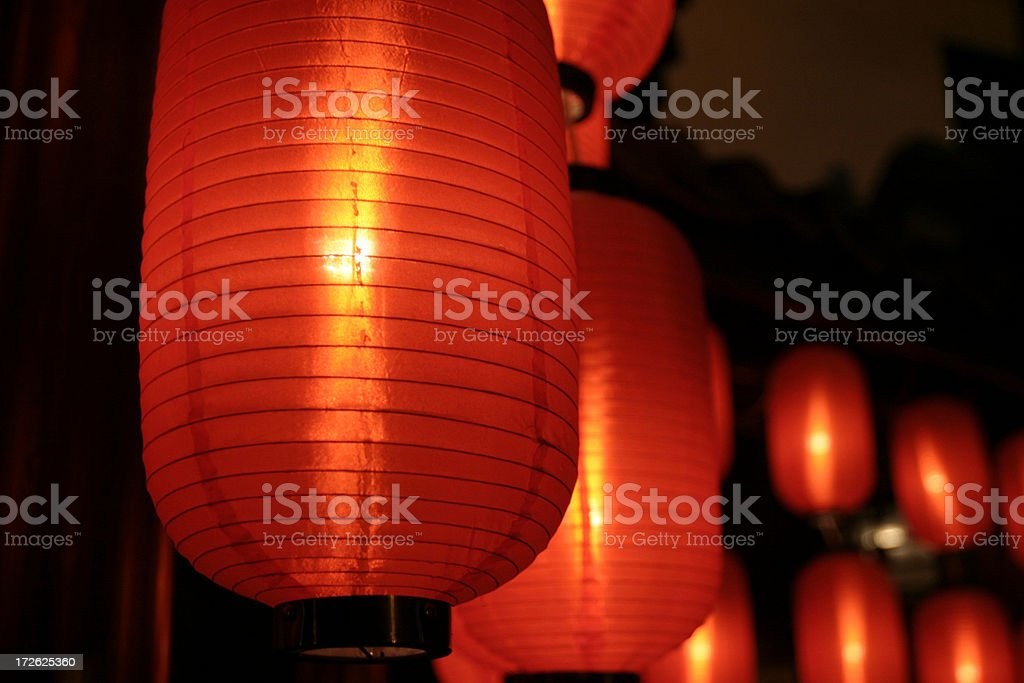 Asian Red Paper Lanterns royalty-free stock photo