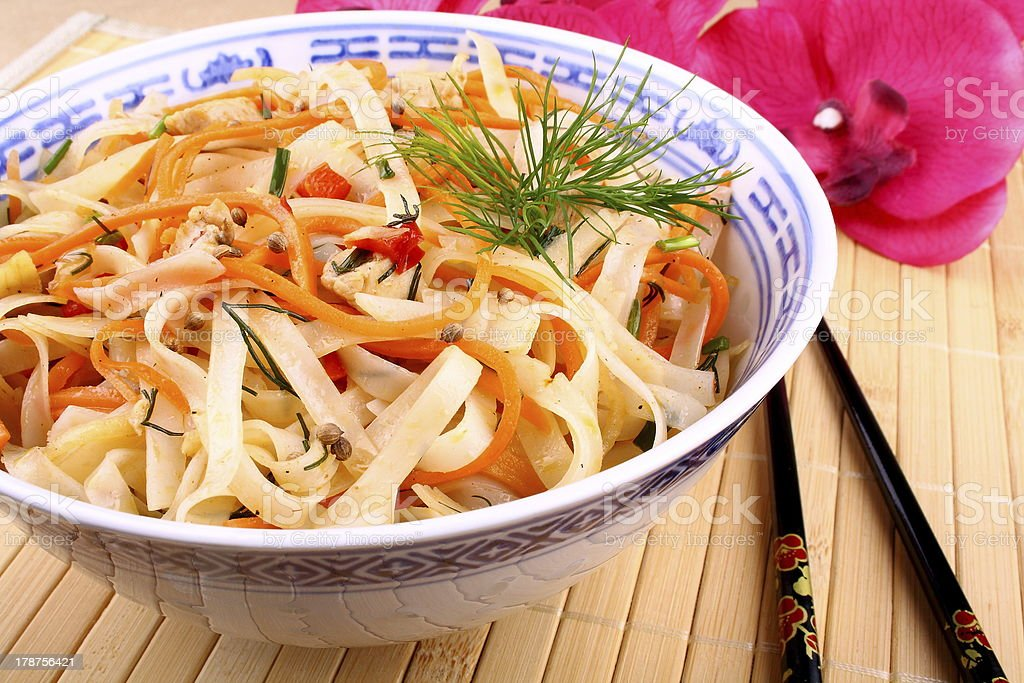 Asian rice noodle with chicken meat, chopsticks royalty-free stock photo