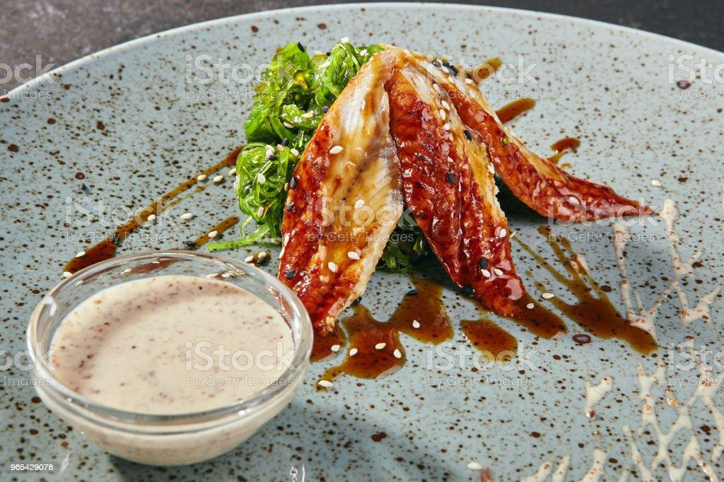 Asian Salad with Eel and Chuka Seaweed zbiór zdjęć royalty-free