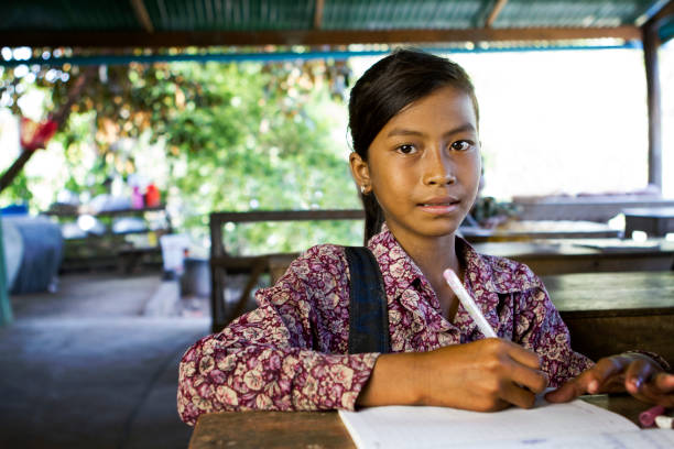 asian school girl at school - thai culture stock photos and pictures