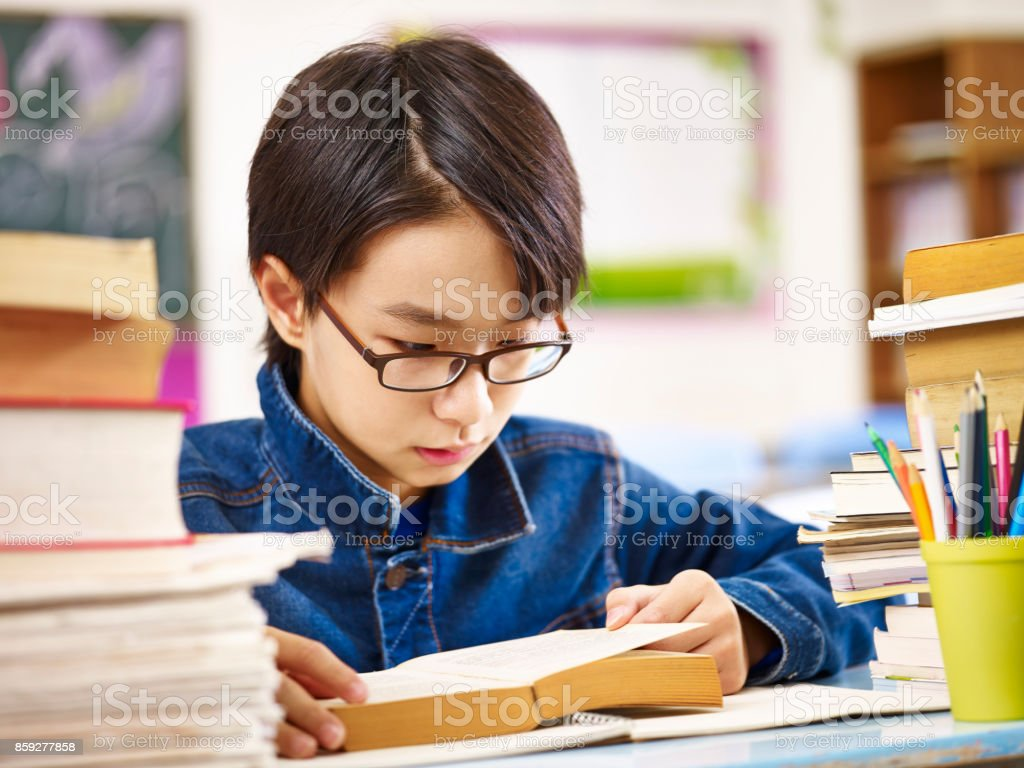 Asian Schoolboy Reading Book In Classroom Stock Photo