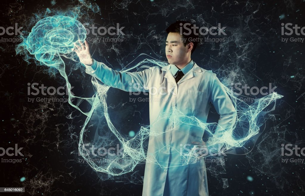 Asian scientist working with virtual reality. Medical research stock photo