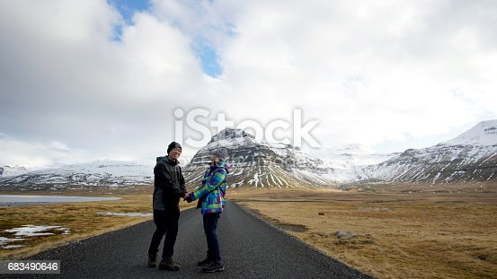 istock Asian senior couple abstract together forever love. Retirement trip to Iceland financial free 683490646