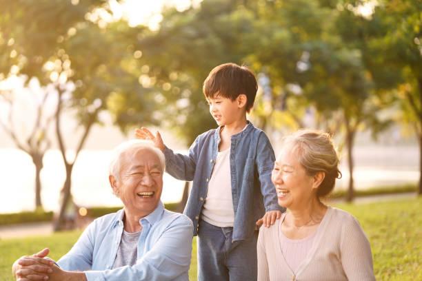 asian senior couple enjoying good time with grandson stock photo