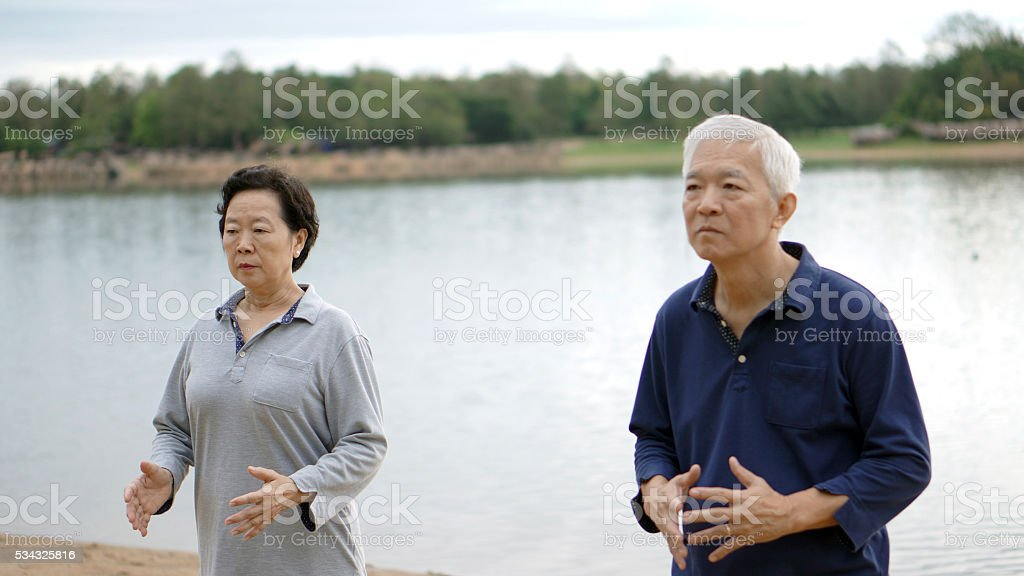 Asian Senior Elderly Couple Practice Taichi Qi Gong Exercise