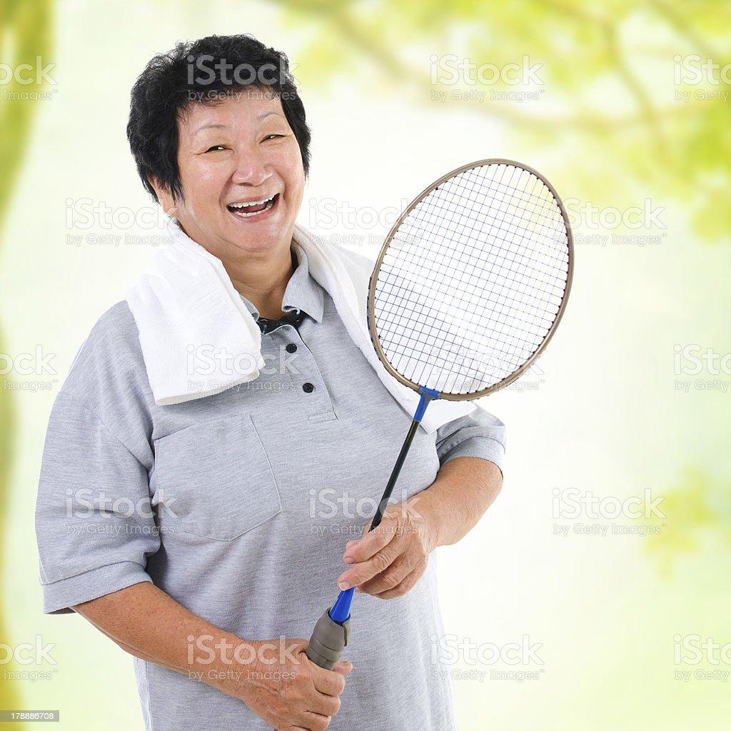 Asian senior sport stock photo