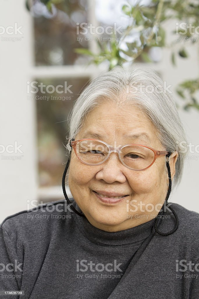 Asian Senior Woman Portrait at Home royalty-free stock photo