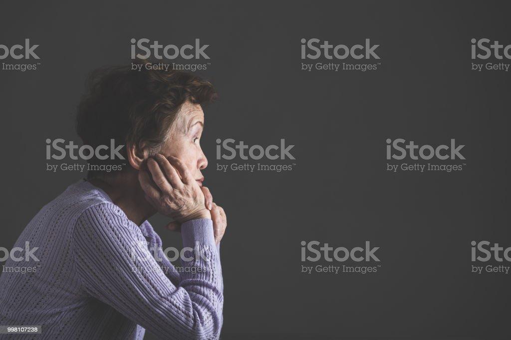 Asian senior women profile stock photo