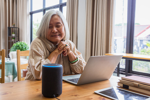 Asian senior women working with laptop computer and using smart speakers while setting in living room at home