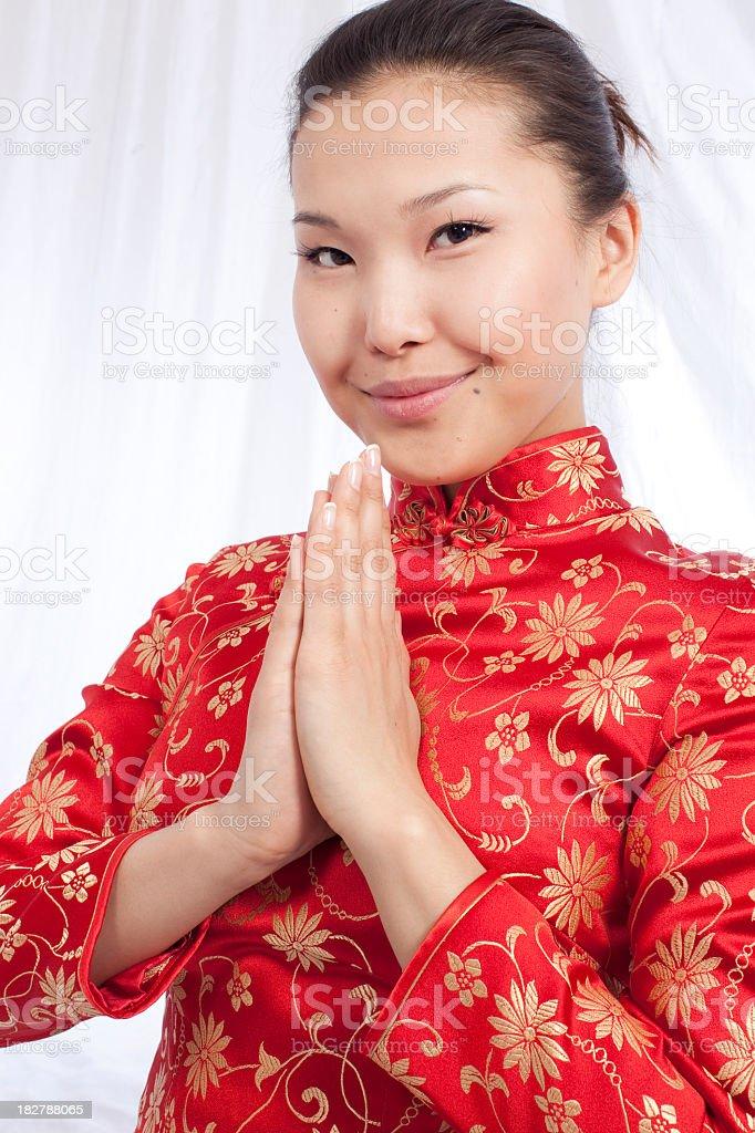 Asian sexy beauty- Chinese dress stock photo