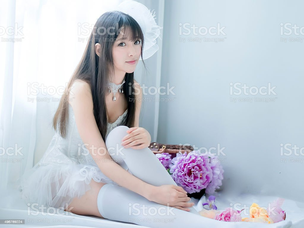 asian sexy underwear girl lady japanese style with flowers stock photo more pictures of 2015. Black Bedroom Furniture Sets. Home Design Ideas