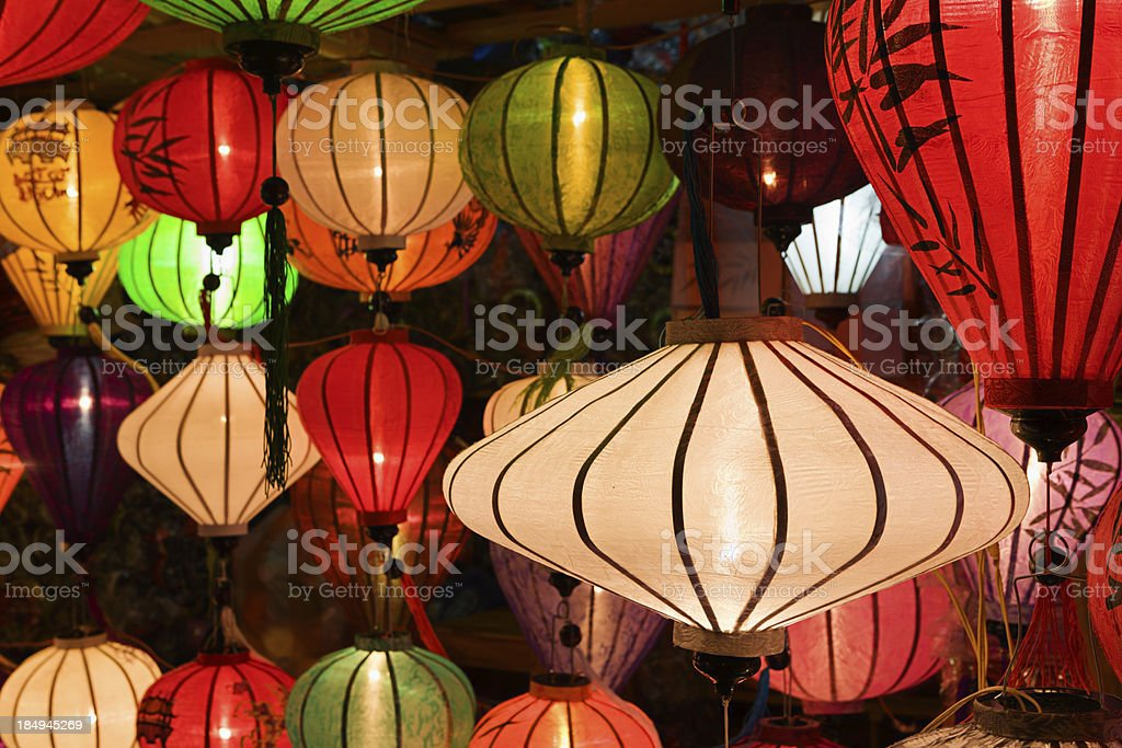 Asian Silk Chinese Lanterns royalty-free stock photo